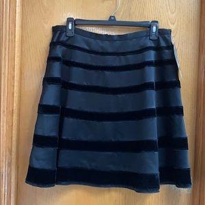 Behnaz Sarafpour Skater Skirt Black Satin Velvet M